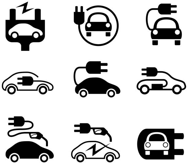 Electric Car Icons Electric car and electric car charging symbols. Single colour black isolated electric car stock illustrations