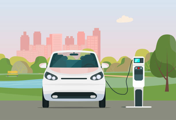 Electric car in a city. Electric car is charging, front view. Vector flat style illustration. vector art illustration