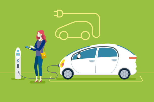 Electric Car in Charging Station Woman Charging an electric car in a charging station. Flat vector illustration. electric vehicle charging station stock illustrations
