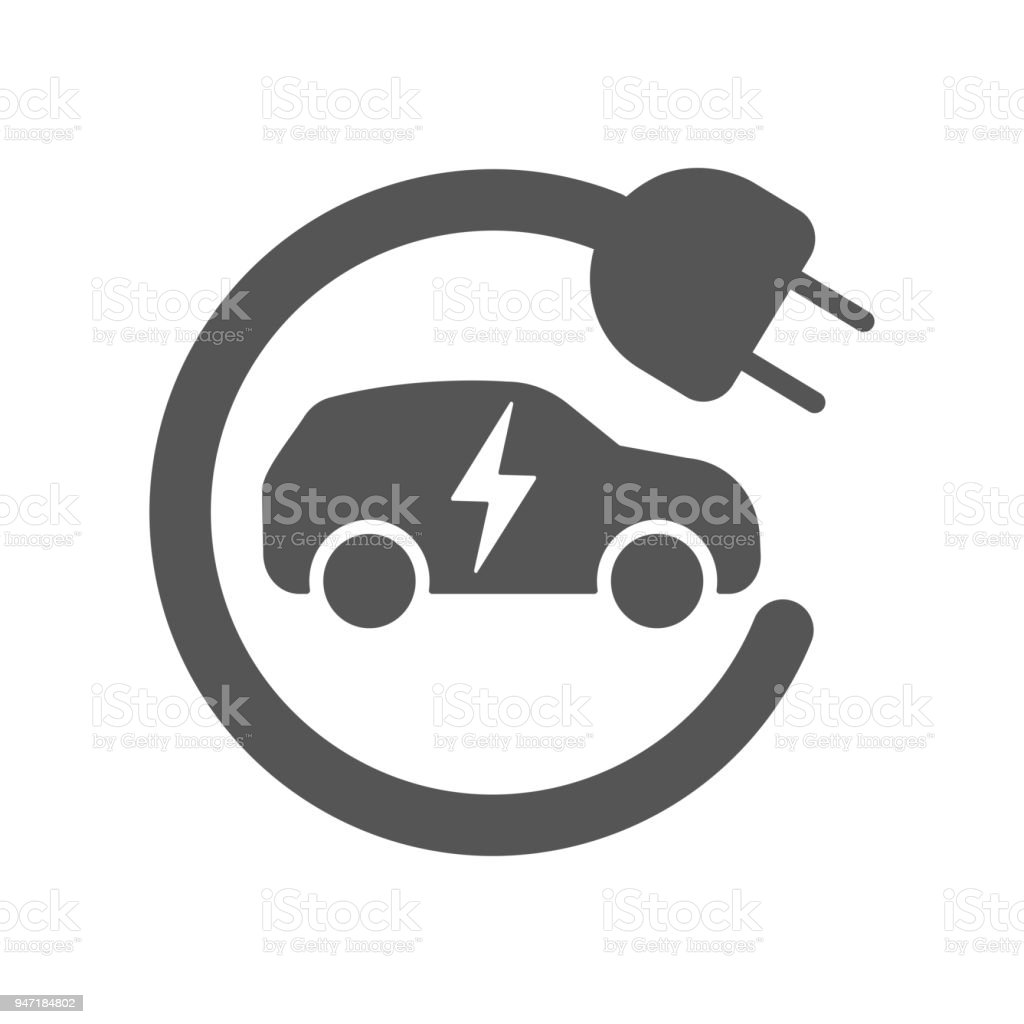 Electric car in refill icon, vector. Electric refueling. Eco transportation vector art illustration