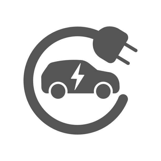 Electric car in refill icon, vector. Electric refueling. Eco transportation Electric car in refill icon, vector. Electric refueling. Eco transportation. EPS 10 electro music stock illustrations