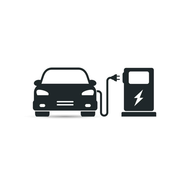 Electric car in refill icon, vector. Electric car in refill icon, vector. Electric refueling. Eco transportation. electric vehicle charging station stock illustrations