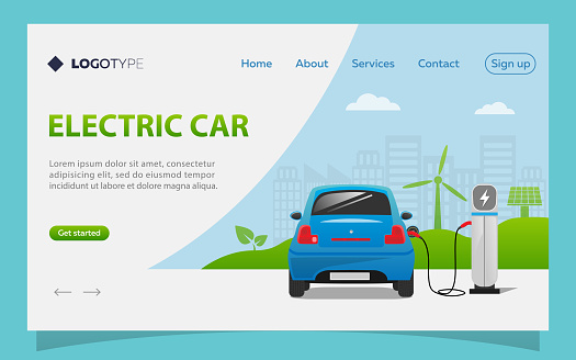 Electric car landing page template, electric car charging at the charger station. Wind turbine and solar panel with green city skyline in background