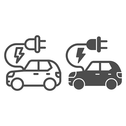 Electric car line and solid icon, Public transport concept, Hybrid Eco friendly auto sign on white background, electric car with plug icon in outline style for mobile and web design. Vector graphics