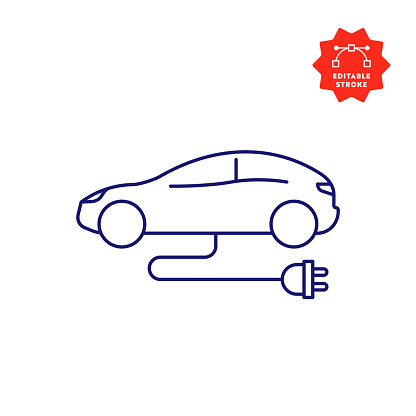 Electric Car Line Icon with Editable Stroke and Pixel Perfect.