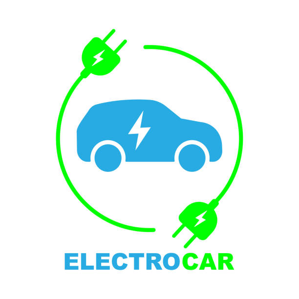 Electric car on charging station Electric car on charging station. Color sign. EPS 10 electric car stock illustrations