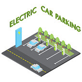 Electric car parking concept, isometric vehicle charging station