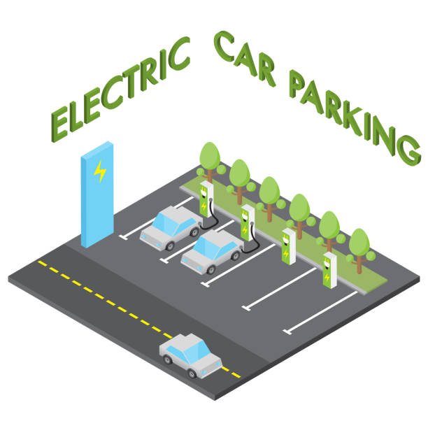 Electric car parking concept, isometric vehicle charging station Electric car parking concept, isometric vehicle charging station isolated vector electric vehicle charging station stock illustrations