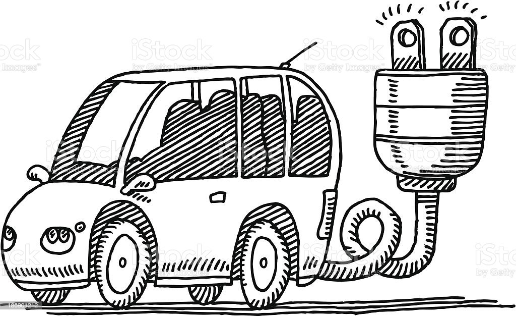 Electric Car Plug Connector Drawing royalty-free electric car plug connector drawing stock vector art & more images of alternative energy