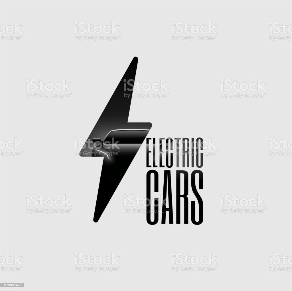 Electric Car Poster Flyer Banner Sign Template. Minimalist Vector Illustration. vector art illustration