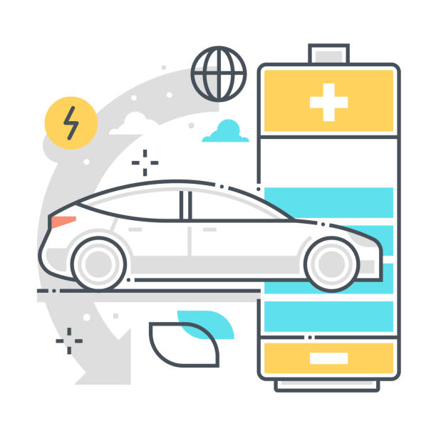 Electric car related color line vector icon, illustration Electric car related color line vector icon, illustration. The icon is about battery, charge, clean, energy, automobile, lithium. The composition is infinitely scalable. lithium stock illustrations