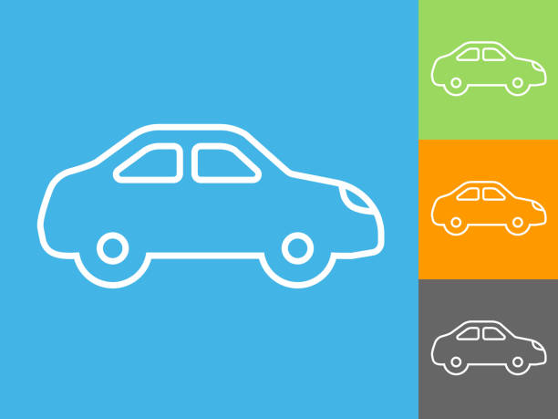 Electric Car Side View Icon vector art illustration