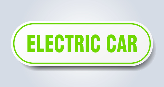 electric car sign. rounded isolated button. white sticker