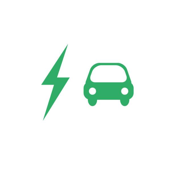 bildbanksillustrationer, clip art samt tecknat material och ikoner med elbil vektor ikonen i grön färg med flash tecken - elbilar laddning sverige