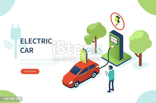 Electric car concept with character. Can use for web banner, infographics, hero images. Flat isometric vector illustration isolated on white background.