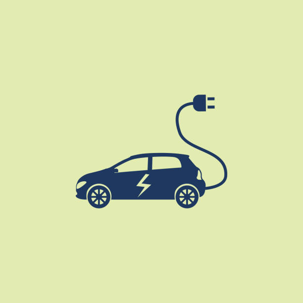 Electric Car Power Line, Cable, Power Station, USA, Electric Car hybrid vehicle stock illustrations