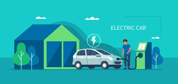 electric car Man character standing near electric recharge station and charging an electric car battery. Modern hybrid Auto. New alternative Energy vehicle. Futuristic transport concept. Flat vector illustration. electric car stock illustrations