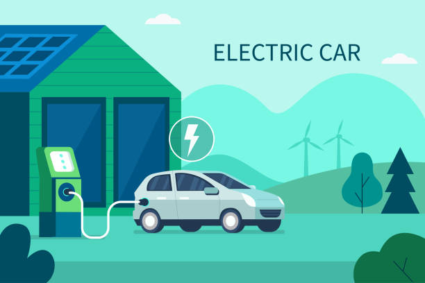elektroauto - elektromobilität stock-grafiken, -clipart, -cartoons und -symbole