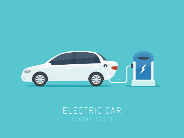 Electric Car White modern electric car on charging station vector illustration in flat style electric vehicle stock illustrations