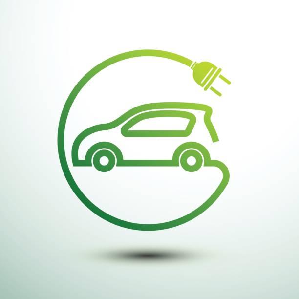 Electric car Electric car concept green drive symbol,vector illustration hybrid car stock illustrations