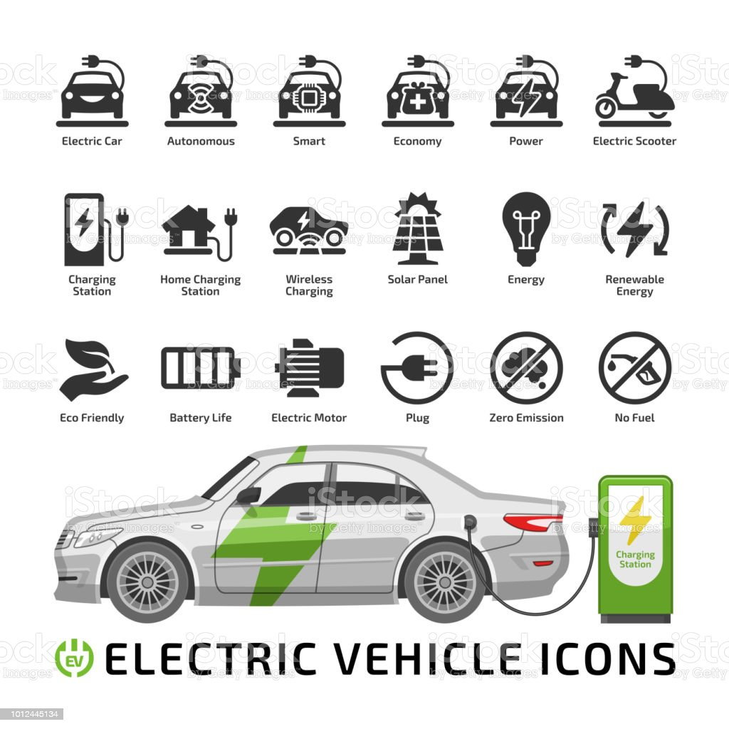 Electric car vector mockup with charge station. Electro vehicle shape icon set with charger, battery power and plug. vector art illustration