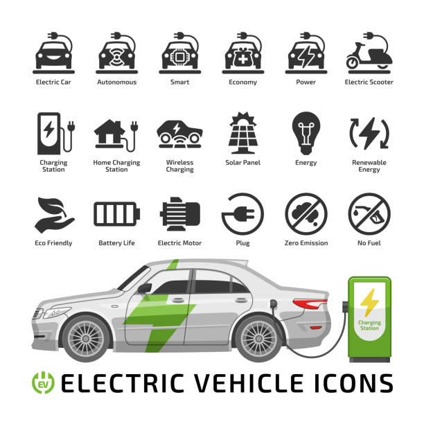 Electric car vector mockup with charge station. Electro vehicle shape icon set with charger, battery power and plug. Electric car vector mockup with charge station. Electro vehicle shape icon set with charger, battery power and plug. hybrid vehicle stock illustrations