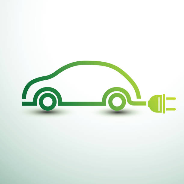 Electric car vector Electric car concept green drive symbol,vector illustration hybrid vehicle stock illustrations