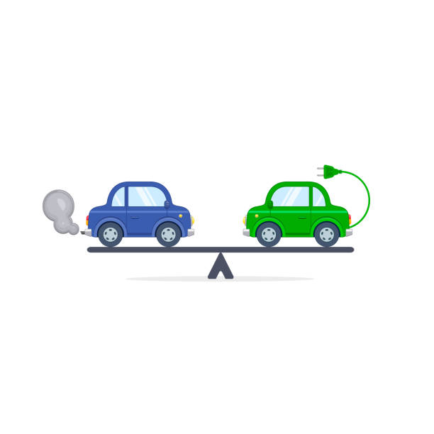 Electric car versus gasoline and diesel car on scales flat color illustration. Comparison between electric and gas car Electric car versus gasoline and diesel car on scales flat color illustration. Comparison between electric and gas car. hybrid vehicle stock illustrations