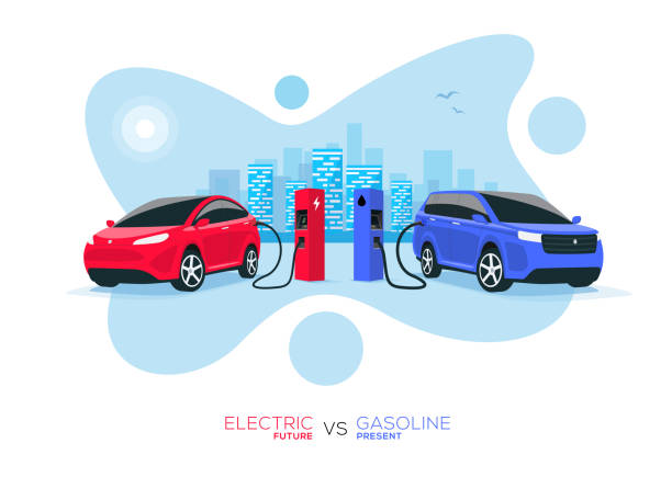 Electric Car Versus Gasoline Car Fuel Fight Comparison with Blue City Skyline Comparing electric versus gasoline diesel car. Electric car charging at charger stand vs. fossil car refueling petrol gas station. Isolated front perspective view with blue city skyline background. electric vehicle stock illustrations