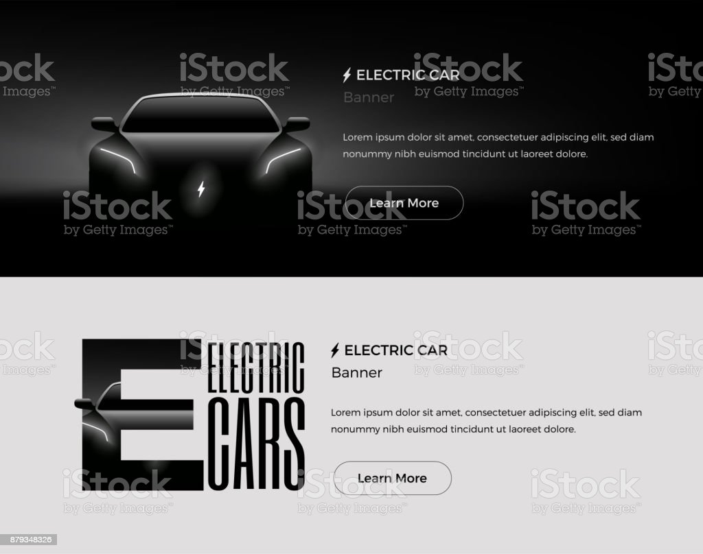 Electric Car Web Banners Template. Vector Illustration. vector art illustration