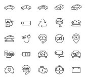 electric car web vector icons