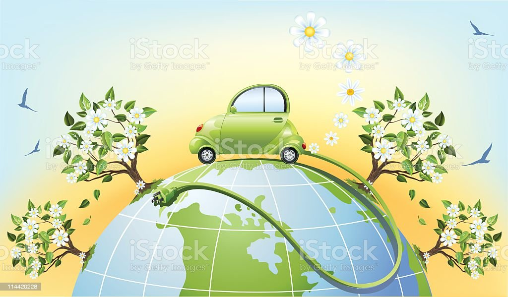 Electric Car with Cable Sitting on Top of Globe royalty-free stock vector art