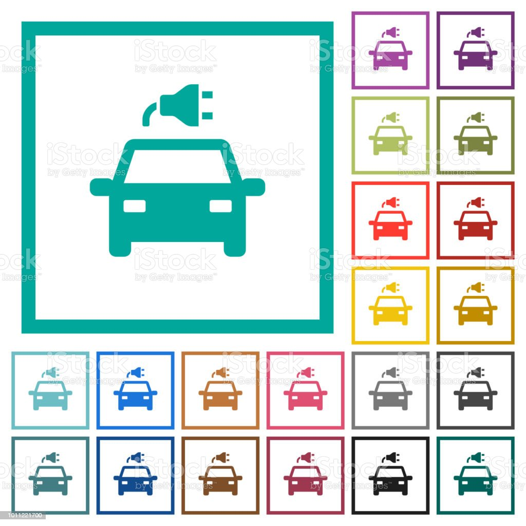 Electric car with connector flat color icons with quadrant frames vector art illustration