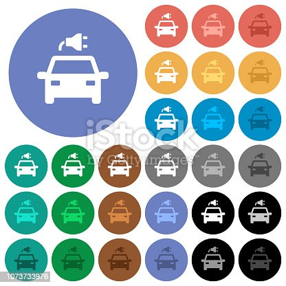 Electric car with connector multi colored flat icons on round backgrounds. Included white, light and dark icon variations for hover and active status effects, and bonus shades.