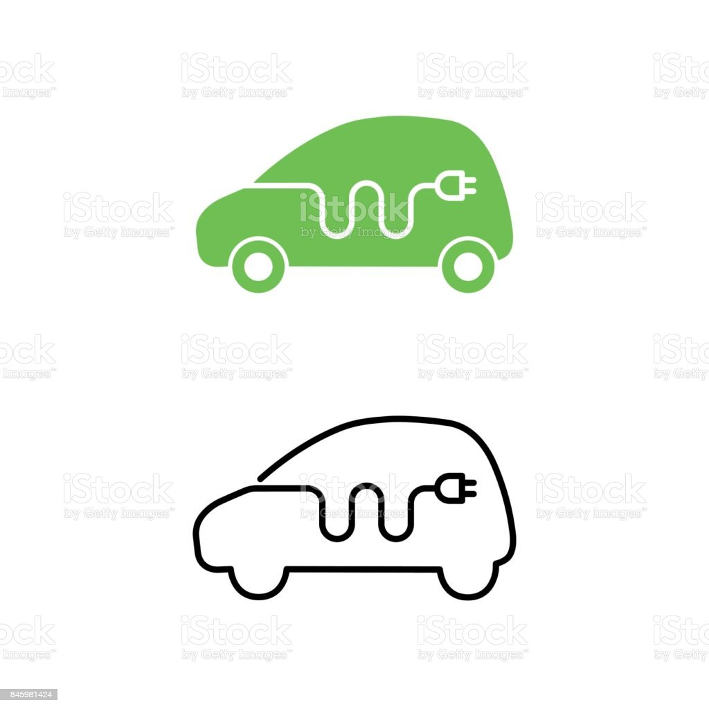Electric car with electrical charging cable icon. Hybrid Vehicle symbol. Eco friendly auto or electric vehicle concept. vector art illustration