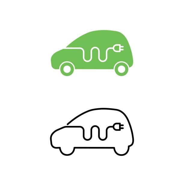 Electric car with electrical charging cable icon. Hybrid Vehicle symbol. Eco friendly auto or electric vehicle concept. Electric car with electrical charging cable icon. Hybrid Vehicle symbol. Eco friendly auto or electric vehicle concept. Vector illustration. hybrid vehicle stock illustrations