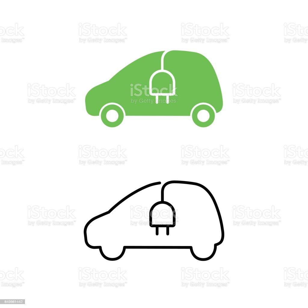Elektroauto Mit Elektrischen Kabel Ladesymbol Hybridfahrzeugsymbol ...