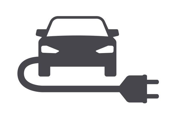 elektroauto mit energiestecker-symbol - elektromobilität stock-grafiken, -clipart, -cartoons und -symbole