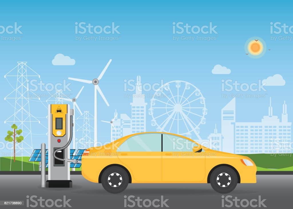Electric Cars Charging At The Charger Station Stock Vector