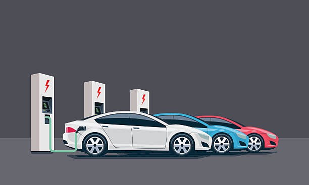 Electric Cars Charging at the Charging Station Flat vector illustration of three electric cars charging at the white charger station. Electromobility e-motion concept. Three electric battery chargers. hybrid car stock illustrations