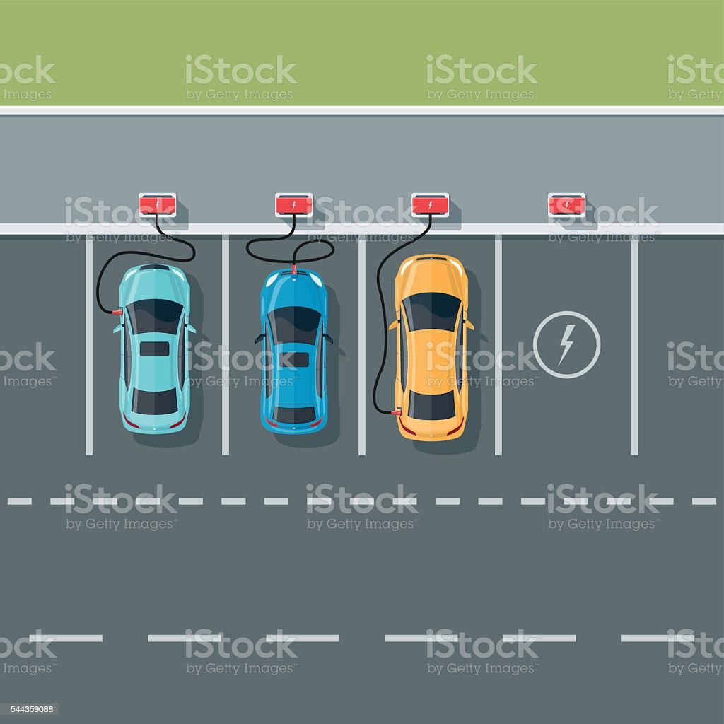 Electric Cars Charging at the Charging Station with Road Background vector art illustration