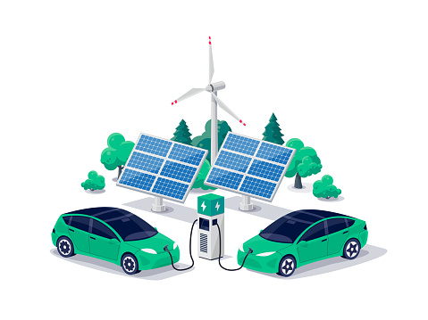 Electric cars charging on parking lot area with fast supercharger station stall. Vehicle on renewable smart solar panel wind power station electricity network grid. Isolated flat vector illustration.