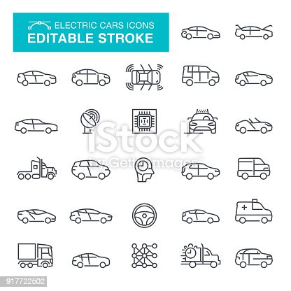 Electric Cars Icon Set Editable Stroke