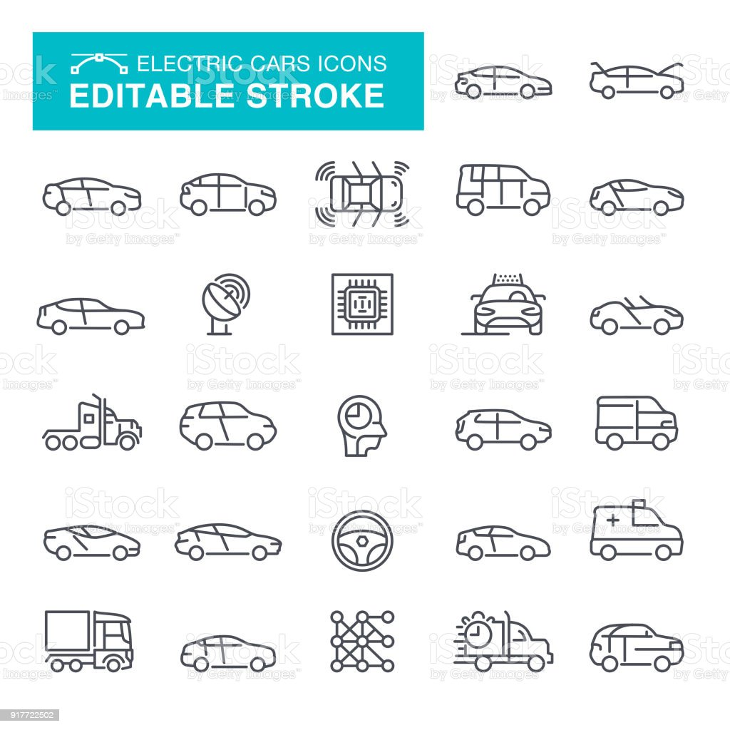 Electric Cars Editable Stroke Icons - illustrazione arte vettoriale