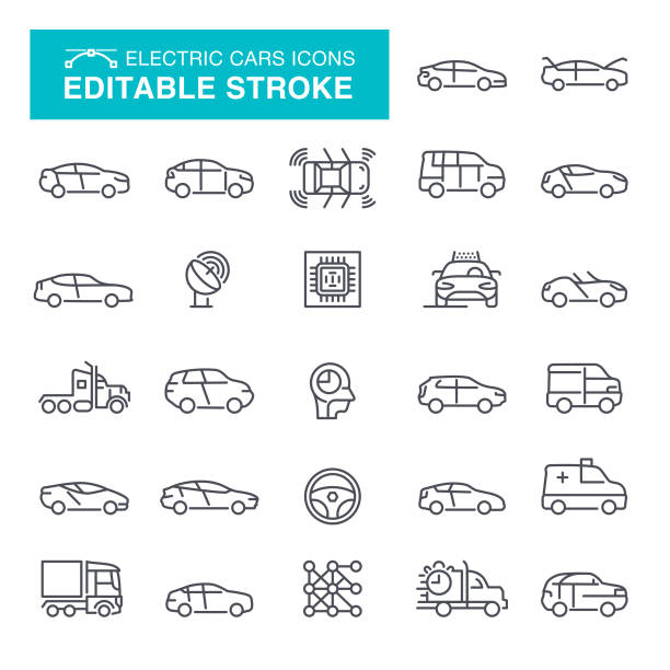 illustrazioni stock, clip art, cartoni animati e icone di tendenza di electric cars editable stroke icons - car