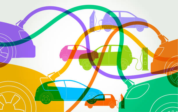 Electric Cars or automobiles Colorful silhouttes of different Electric Car or automobile types electric vehicle charging station stock illustrations
