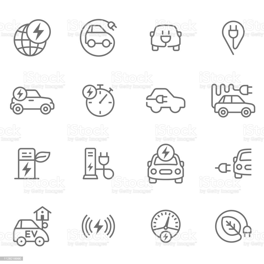 Electric Cars Icon set for electro mobility Alternative Fuel Vehicle stock vector