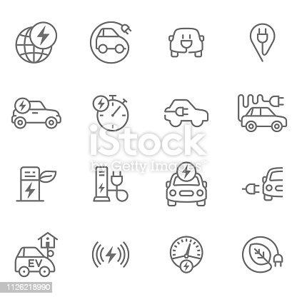 Icon set for electro mobility