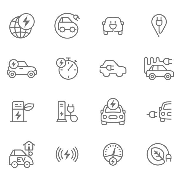 Electric Cars Icon set for electro mobility electric vehicle charging station stock illustrations