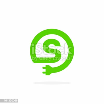Electric Charging Vector Letter S. S Energy Cable Design Vector